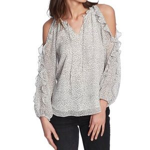 - 1. State cold shoulder ruffle sleeve blouse S